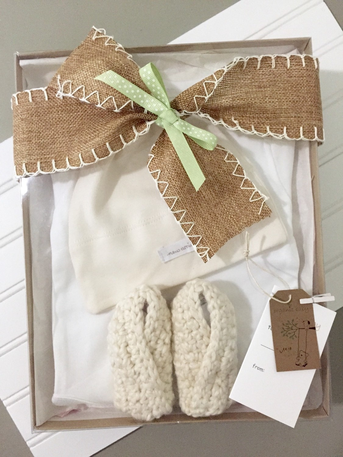 Baby Gifts For Gender Neutral : Gender neutral baby gift set organic new by greenbabybaskets