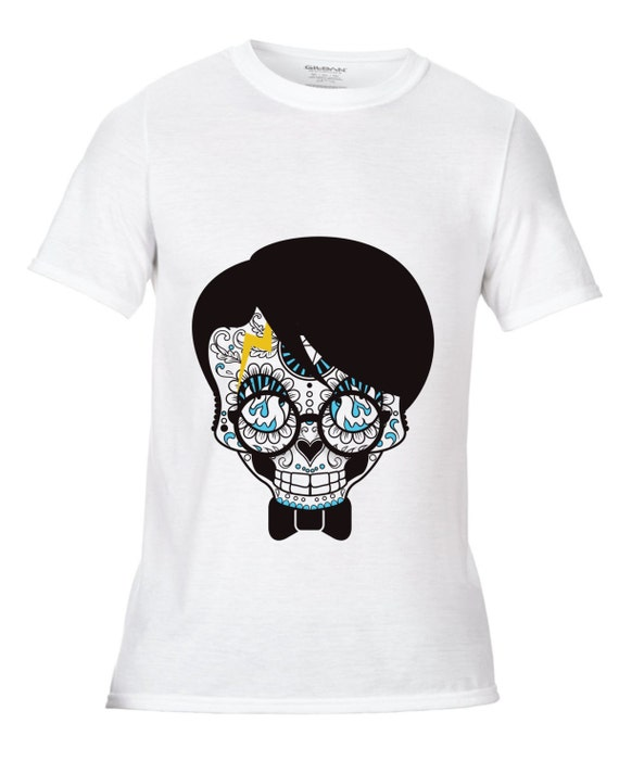 Sugar skull geek wizard unisex adults dye sublimation for Wizard t shirt printing