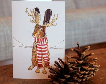 Holiday Jackalope Cards (Set of Five): Watercolor Illustration