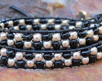 Beaded Wrap Bracelet with Sterling Silver and Onyz Beads on Black Geniune Leather