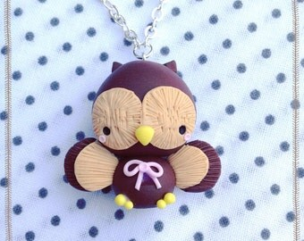 Owl Owl necklace ~ Cute Owl Necklace Fimo Polymer Clay handmade Jewellery Handmade Kawaii Chibi Night Wings Night Gift Accessories