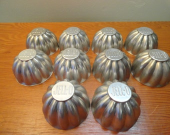 Lot Of 10 Vintage Aluminum Jell-O Molds