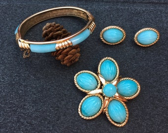 Marvella Light Blue/Turquoise Glass Bracelet, Earring and Brooch Parure 0647