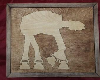 Star Wars AT-AT Walker Wooden Inlay Wall Art