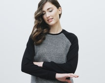 GREY COMBO sweater. Go graphic! Warm and comfy pure wool sweater. Original cuts and check pattern fits perfectly for day and night.