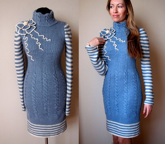 Knitting Dress Pattern : knit dress patterndetailed tutorialwinter dress PDFknit