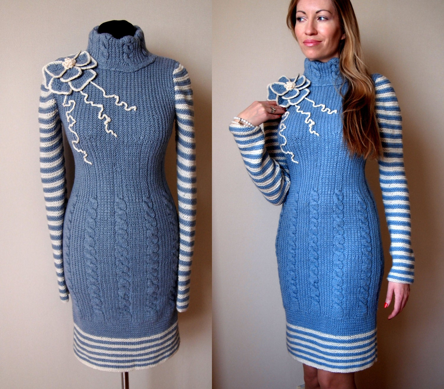 knit dress patterndetailed tutorialwinter dress PDFknit
