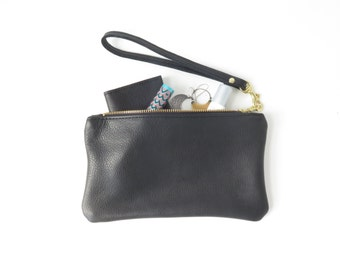 Black Leather Clutch // Monogrammed Leather Pouch // Small Leather Wallet // Soft Leather Clutch