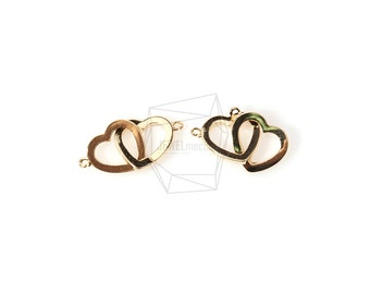 CNT-090-G/2pcs/2 Hearts Connected Charm/11mm x 16mm/Gold Plated Over Brass