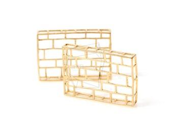 PDT-469-MG/2Pcs-brick Pendant/ 22mm x 32mm/ Matte Gold Plated Over Brass