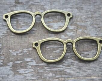7pcs--glasses Charms, Antique Tibetan bronze tone glasses charm pendants connctors 55x19mm D1170