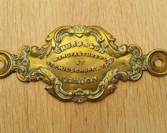 Chubb Antique Deed Box Plate