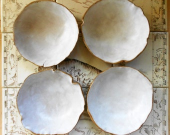 Rustic pottery bowls handmade organic ceramic bowl white and burlap modern dinnerware nature based pottery dishes