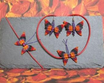 butterfly red.black.violet.orange, product line ...coloreARTE..., set, bracelet, necklace, earrings, knotted, macramé