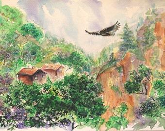 Flying eagle painting Original watercolor painting Original landscape painting Mountains painting rocks painting Eagle bird painting