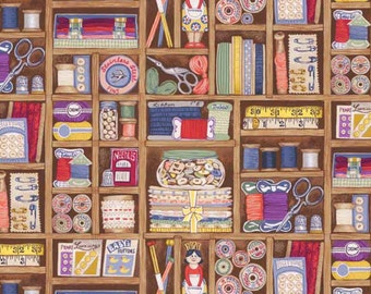 Haberdashery Boxes Shelves Sewing Notions Cotton Fabric by Makower per fat quarter per metre FQ