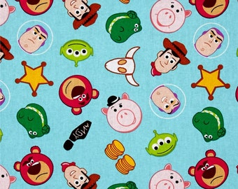 Toy Story Disney Emojiland Woody Buzz Lightyear Rex Hamm Alien Cowboy Cotton Fabric by Springs Creative per fat quarter per metre FQ