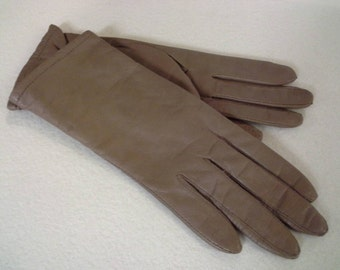 Fownes Leather Gloves, Vintage Gloves, Size 6.5 Gloves, Taupe Leather Gloves, Fownes Gloves, Taupe Gloves, Light Brown Gloves