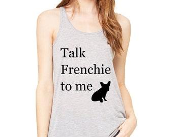 Frenchie Tank Top, Grey Women's French Bulldog Tank Top, Talk Frenchie Shirt