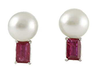 Vintage cultured pearls, rubies, platinum earrings. Circa 1960.