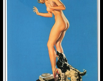 "Gil Elvgren Vintage Pinup Illustration ""A Pleasing Discovery"" Sexy Pinup Mature Wall Art Deco Book Print 5.5"" x 4"""