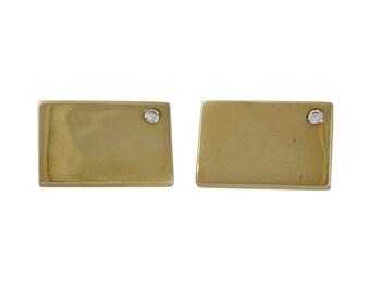 Vintage 14K Gold Diamond Toggle Cufflinks Ballou & Co.