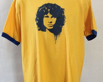 Vtg 80s 90s Jim Morrison Ringer T-Shirt Yellow Classic Rock The Doors