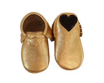 Gold heart moccasins (various colors)