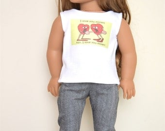 Graphic Valentine top for 18 inch dolls  American Girl Doll Clothes