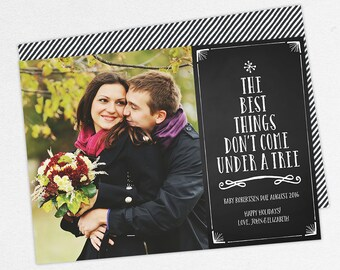 24 HOUR TURNAROUND, The Best Things Don't Come Under a Tree Cards, Christmas Pregnancy Announcement, Holiday Pregnancy Announcement, PDF,