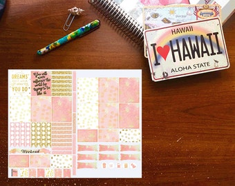 Pink/Gold Planner Stickers, Weekly Kit, Vertical Planner Stickers