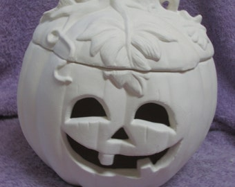 Ceramichrome 752 Pumpkin with Lid - Bisque (Ready to Paint)