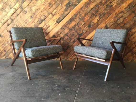 Mid century selig style walnut z chair - Selig z chair for sale ...