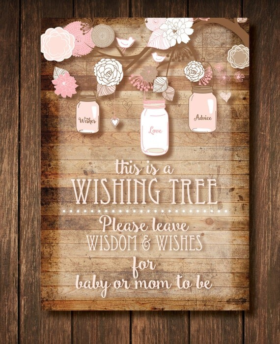 Baby Shower Wishing Tree Sign And Tags Girl Instant Digital