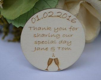 Wedding Favour Magnets, Wedding Favors, Keepsake Personalised packs of 10