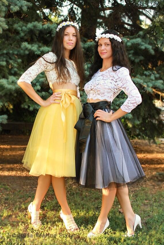 Yellow Tulle Skirtsshort Skirtbridesmaid Skirtparty