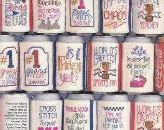 Can Covers in Cross Stitch, Bright'n Easy by Jean Farish, Short Saying, Mugs in Cross Stitch, Counted Cross Stitch, Vintage Leaflet
