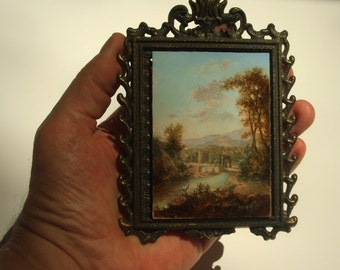 ACEO Original Painting, Oil on Panel Miniature Landscape Old Master