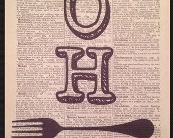Kitchen Vintage Cutlery Print Dictionary Page Wall Art Picture Oh Fork Funny