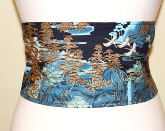 Golden belt landscape Brown and edged blue Japanese fabric