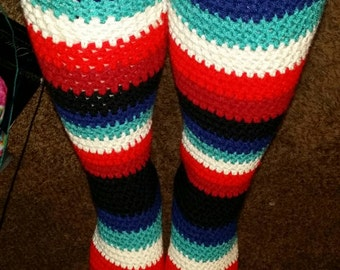 Crochet Knee High Tube Socks with Removable Tassels