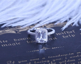 Topaz! Emerald Cut Topaz Ring Solid in 14k White Gold 6x8mm Topaz Engagement Ring Halo Diamonds Engagement Wedding Ring
