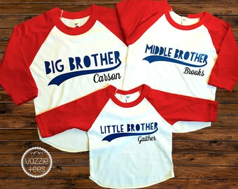 Brothers Shirts - ONE SHIRT - Big, Middle and Little Brother Raglan Tees - Siblings Shirts - Brothers Tees - New Baby Announcement
