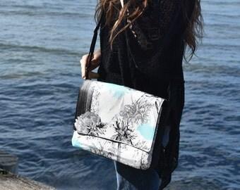 Black White and Aqua Chrysanthemum Print Messenger Handbag