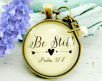 Be Still Necklace, Be Still Keychain, Psalm 37 Mom Pendant Christian Necklace Scripture Keychain, Grief Gift, Sympathy Necklace
