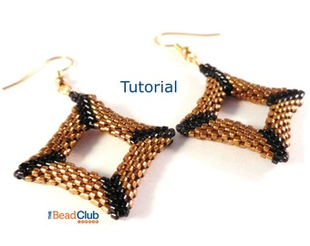 Peyote Stitch Patterns - Seed Bead Earring Patterns - Beading Tutorials and Patterns - Beadweaving Tutorial - Square Earrings