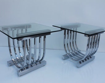 Vintage Chrome  Tubular Side Tables A Pair.