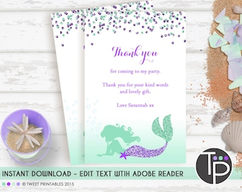 MERMAID THANK YOU Card, Instant download Thank you Card, Mermaid Thank you Card, Purple Mermaid Printable, Instant Download Thank you Card
