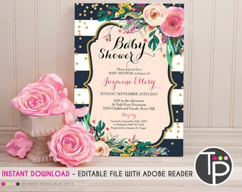 BABY SHOWER INVITATIONS, Instant Download, Watercolor Floral Baby Shower Invitation, Watercolor flowers, Floral Shower Invitation, 0205
