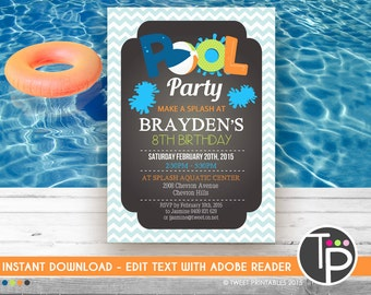 pool party invite  etsy, Party invitations